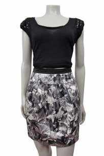 BCBGMAXAZRIA Pleated Satin Bubble Floral Print Skirt Gray