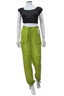 BCBGMAXAZRIA Runway Avocado Even Drawstring Zipper Hem Sheer Pants
