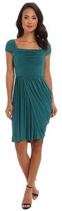 BCBGMAXAZRIA Blue Green Teal Grecian Ball Evening Maxi Silk Pleated Asymetrical Gucci Full Length Louis Vuitton Chanel Marni Milly & Dress