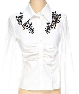 BCBGMAXAZRIA Embroidered Ruched Contrast Button Down Shirt White