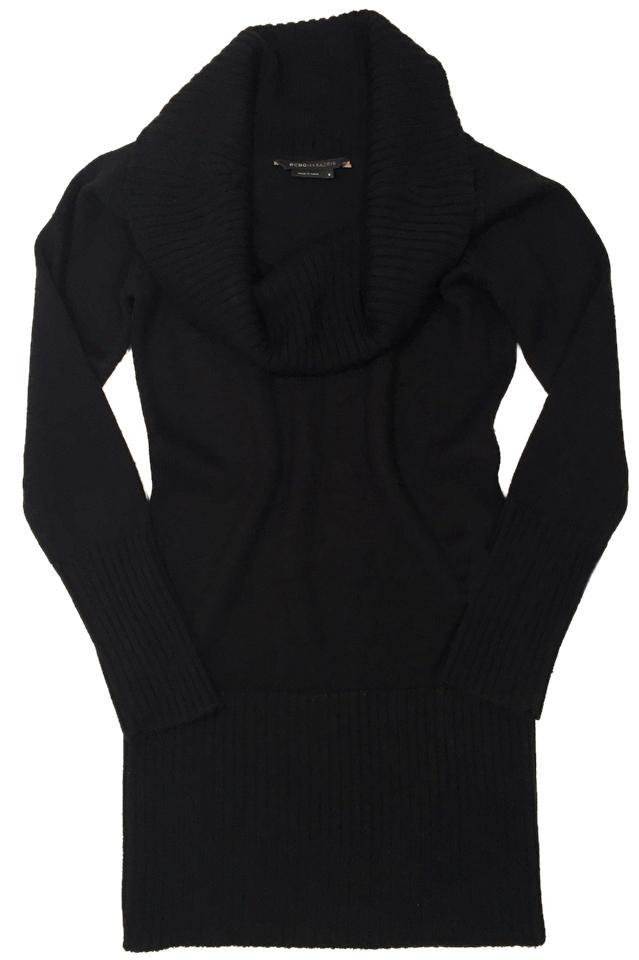 BCBGMAXAZRIA Black Long Sleeve Cowl Neck Wool (Us S) Sweater Knee ...