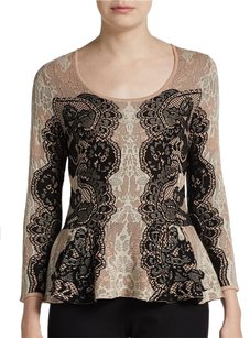 BCBGMAXAZRIA Peplum Lace Scoop Neck Silk Sweater
