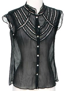 BCBGMAXAZRIA Sheer Top Black