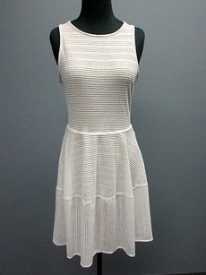 BCBGMAXAZRIA short dress white/tan Lining Open Knit Sleeveless Back Zip Sm7770 on Tradesy