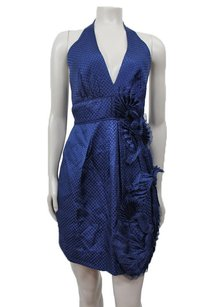 BCBGMAXAZRIA Blue Halter Embellished Ruffle Side Silk Dress