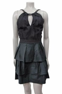 BCBGMAXAZRIA Tiered Textured Key Hole Front Mini Beaded Halter Dress