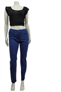 BDG Blue High Rise Cigarette Ankle Leopard Urban Outfitters 27w 30l 27 Skinny Jeans