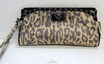 Be&D Be D Leopard Leather Chain Brown Clutch