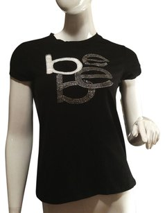 bebe Crystal Embellished Classic Embroidered Silver T Shirt Black