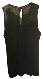 bebe Mesh Sleeveless Draped Top Black