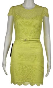 bebe Womens Lace Cap Sleeve Above Knee Sheath Dress
