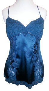 bebe Silk Satin Lace Trim Sequins Top Dark Teal