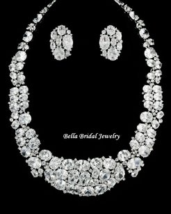 Bella Tiara Magnificent Cz Necklace And Earrings Set