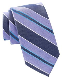 Ben Sherman Ben Sherman Striped Silk Blend Tie Purple