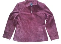 Bernardo Coat Suede Trench Rain Coat Plum Pink Purple Leather Jacket