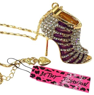 Betsey Johnson Betsey Johnson Swarovski Crystal Purple Enamel High Heel Pendant Necklace