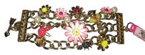 Betsey Johnson floral and bug chunky bracelet