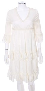 Betsey Johnson short dress Winter White Lace Cotton Bohemian Ruffle Tiered on Tradesy