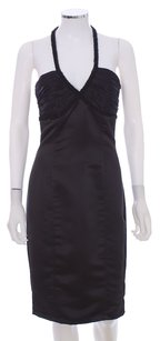 Betsey Johnson Satin Halter Beaded Sleeveless Fitted Dress
