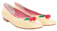 Beverly Feldman Cherry Cherries Plaid Straw Flats