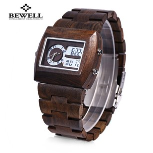 BEWELL BEWEL* Analog Men's Wood Watch Digital Calendar Wrist Watch