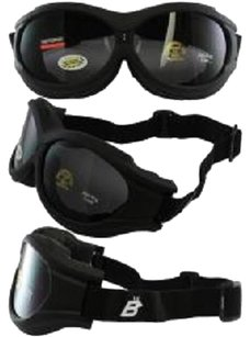 Birdz Eyewear Birdz Buzzard Black Frame Motorcycle Goggles with Smoke Shatterproof Anti-Fog Polycarbonate Lenses and Vented Open Cell Foam