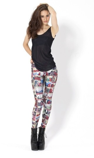 Black Milk Clothing Woman In Red Comic Book Leggings