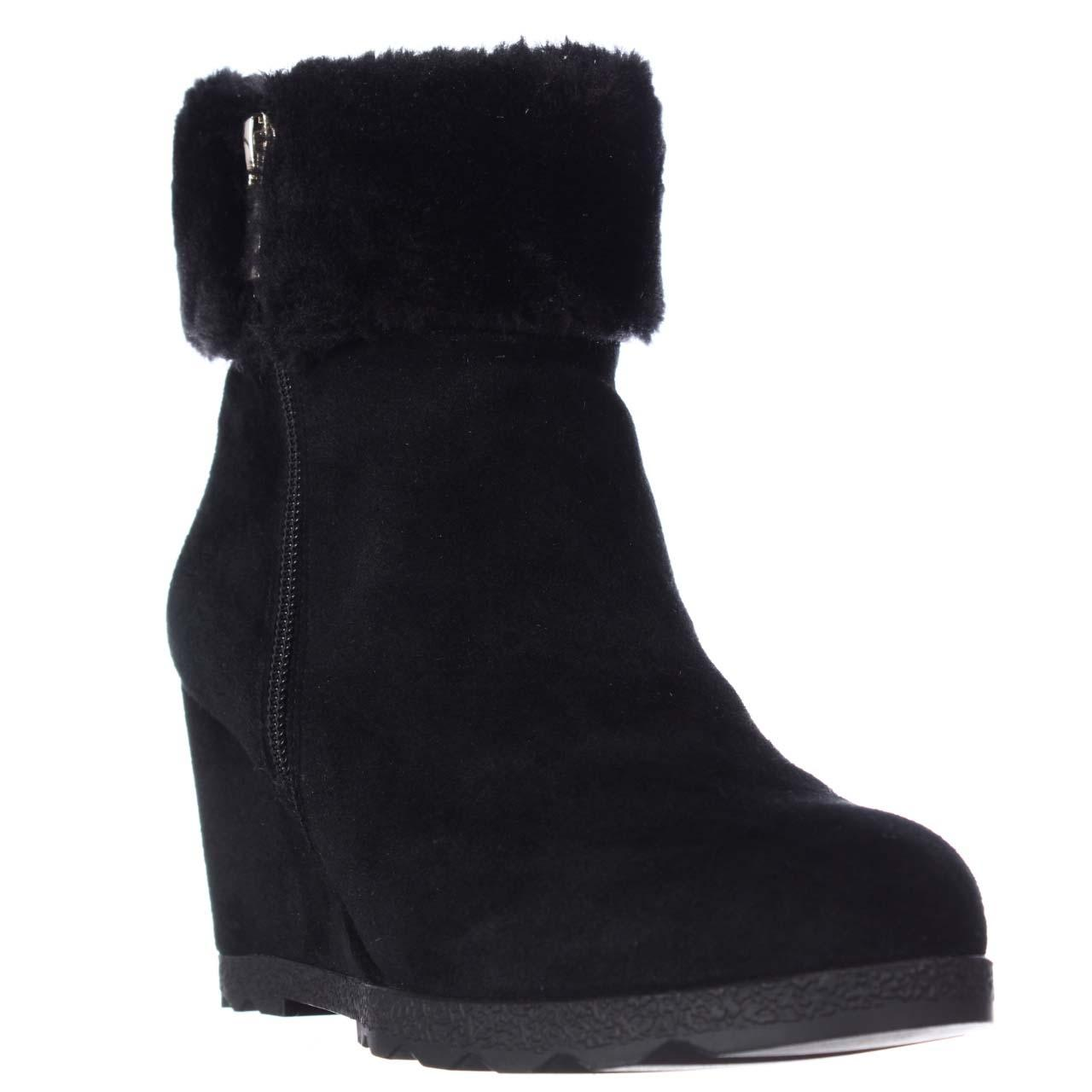c2fecfd9d5a Black Oreena Wedge Winter Ankle Boots Booties Boots Booties Boots Booties  Size US 5.5 Regular (M