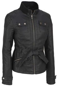 Black Rivet Belted Four Pocket Leather Jacket
