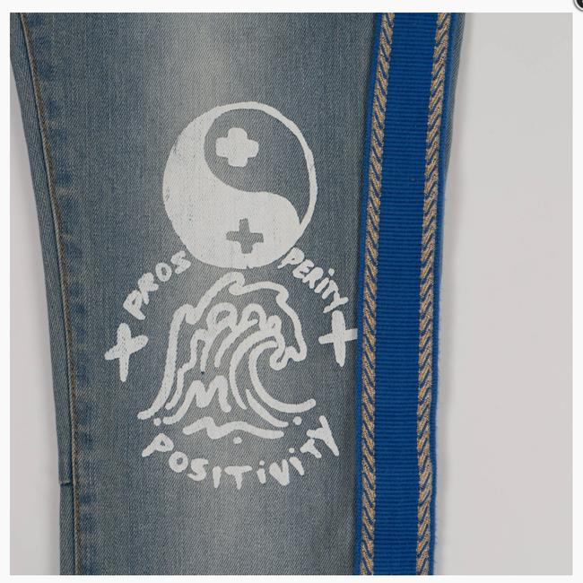 Pink Dolphin Embroidered Hand Painted Designer Light Wash Custom Skinny Jeans-Light Wash