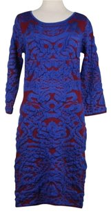 Blue Rain short dress Burgundy Blue Womens W Tags Textured Above Knee Sweater on Tradesy