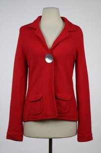 Boden Boden Womens Red Blazer Long Sleeve Cotton Career Jacket Textured