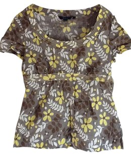 Boden Top Dove Grey/White/Yellow floral