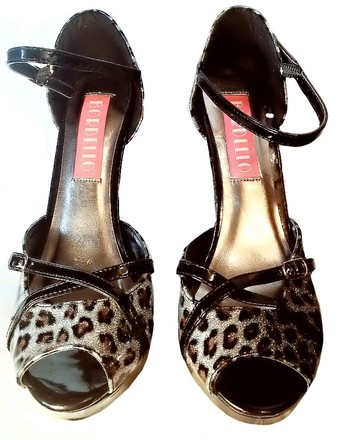 Bordello Patent Animal Print Ankle Strap Peep Toe Pumps