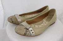 Børn Born Womens Ballet Animal Print Leather Casual Beige, Taupe, Silver Flats