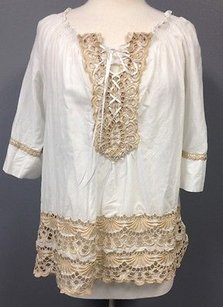 Boston Proper Cotton Beige Crochet Accent Peasant Sma 11142 Tunic