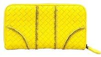Bottega Veneta Bottega Yellow Woven Leather Continental Wallet