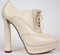 Bottega Veneta Leather Wingtip Lace Up Heels Pearl Platforms