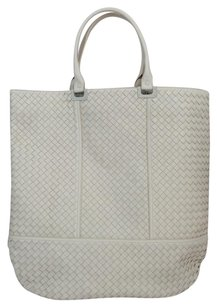 Bottega Veneta Intrecciato Oversized Leather Tote in White