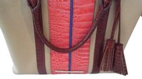 Brahmin Satchel in Tan Coral Brown Multi