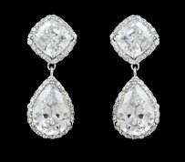 Brand New Highest Quality Cz/rhodium Earrings