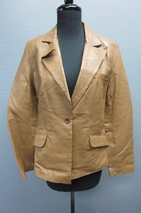 Brandon Thomas Womens Leather Studded One Button Sm11284 Brown Jacket