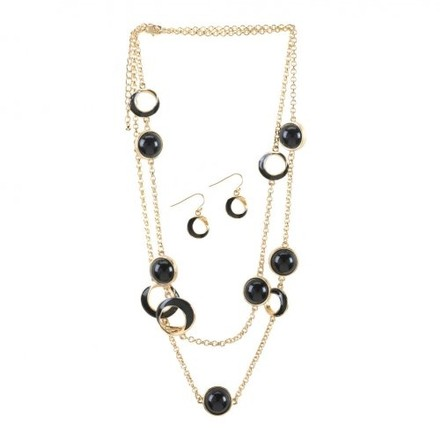 Breezy Couture Black Orbit Necklace And Earrings Jewelry Set