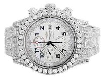 Breitling Mens Breitling A13370 Super Avenger 52mm Stainless Steel With Diamonds 31.5ct