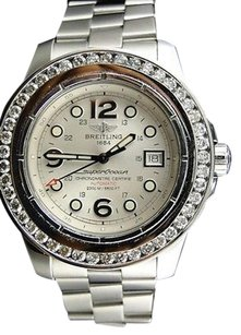 Breitling Mens Breitling Superocean With Custom Genuine Mm Diamond Bezel Ct