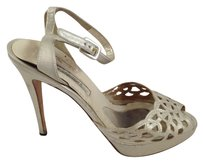 Brian Atwood Strappy Metallic Cutout Silver Gold Metallic Silver Pumps