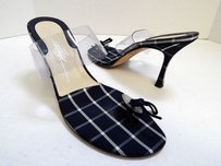 Brian Atwood Navy White Plaid Blue Sandals