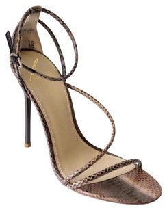 Brian Atwood Womens Snakeskin Strappy Sandal Taupe Pumps