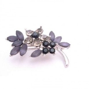 Bridemaids Jet Black Diamond Crystals Flower Silver Tone Dress Brooch
