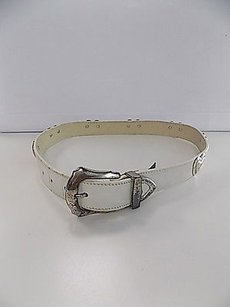Brighton Brighton White Leather Casual Belt W Silver Toned Hearts And Buckle B3486
